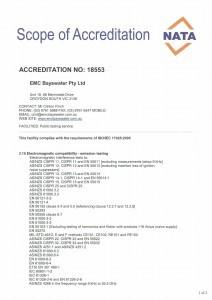 EMC Bayswater - Scope of NATA Accreditation - EMC testing